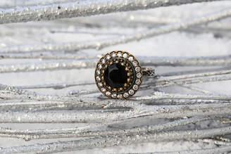 Sultana Sultanesque Silver Black Round Ring