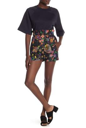 Tibi Floral Patterned Tech Easy Pull On Shorts