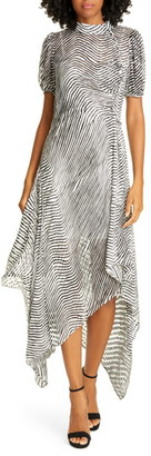 Tanya Taylor Jordyn Zebra Print Handkerchief Hem Dress