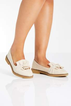 Quiz Nude Faux Suede Loafers