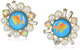 Betsey Johnson Womens Granny Chic Gold Fish and Pearl Stud Earrings
