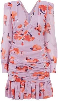 Nicholas Silk Floral Print Gathered Dress