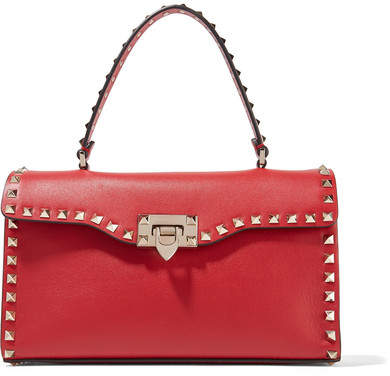 Valentino - The Rockstud Leather Tote - Red