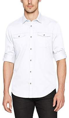 Calvin Klein Jeans Men's Long Sleeve Roll Up Dobby Mixed Media Button Down Shirt