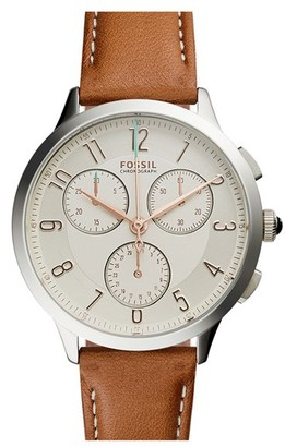 Women's Fossil 'Abilene' Chronograph Leather Strap Watch, 34Mm $115 thestylecure.com