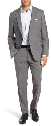 BOSS Huge/Genius Trim Fit Plaid Wool Suit