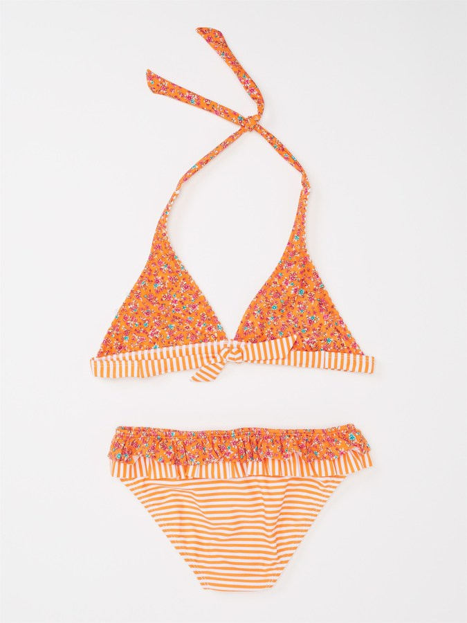 Roxy Girls 7-14 Reversible '70s Halter Bikini Set With Cups