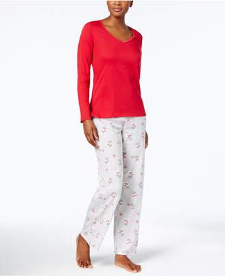 Charter Club Graphic Top & Printed Pants Pajama Set