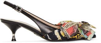 Prada Multicolor Tiger and Comic Ribbon Heels