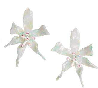 Lele Sadoughi Oversized Water Lily Crystal Earrings