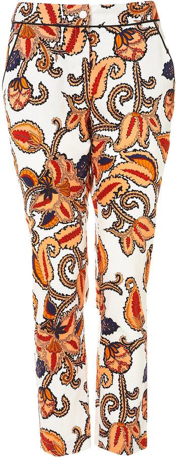 Paisley Print Cigarette Trousers