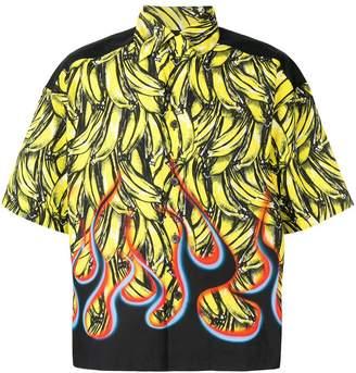 Prada Cuban collar banana shirt