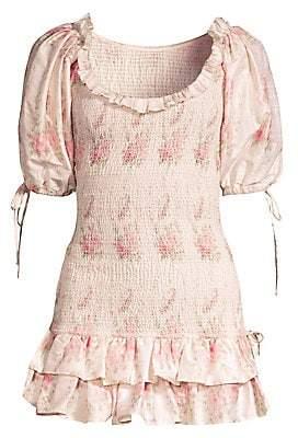 LoveShackFancy Women's Violet Rose-Print Puff-Sleeve Mini Dress