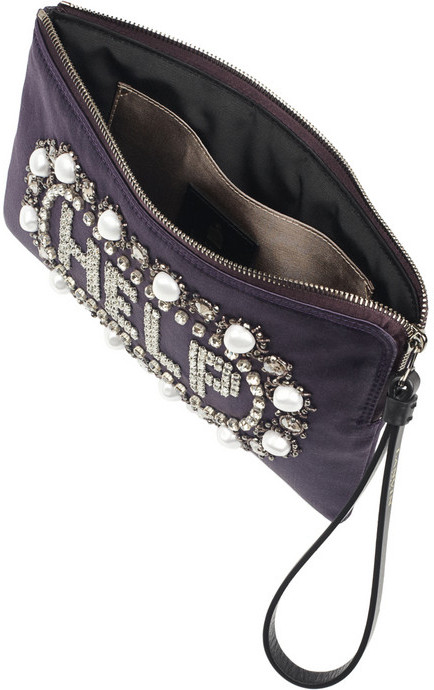 Lanvin Help embellished satin clutch