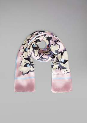 Giorgio Armani Scarf In Silk And Viscose With Floral Pattern