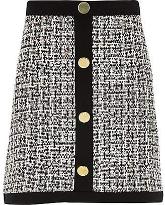 River Island Girls monochrome boucle button front skirt