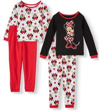 Minnie Mouse Long sleeve cotton tight fit pajamas, 4-piece set (Toddler Girls)