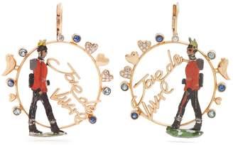 Francesca Villa Rose-gold sapphire, toy soldier earrings