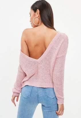 Missguided Pink Plunge V Back Sweater