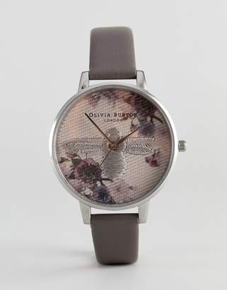 Olivia Burton OB16EM05 Embroidered Dial Leather Watch In Gray