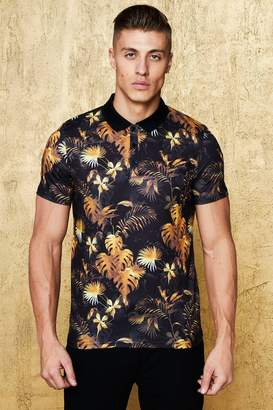 boohoo Muscle Fit Gold Floral Polo