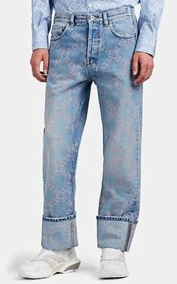 Valentino Men's Logo Cuffed Jeans - Blue