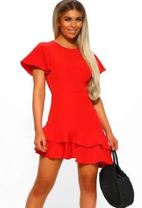 Pink Boutique Spanish Glamour Red Ruffle Hem Asymmetric Mini Dress