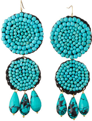 Panacea Beaded Rope Double-Drop Earrings