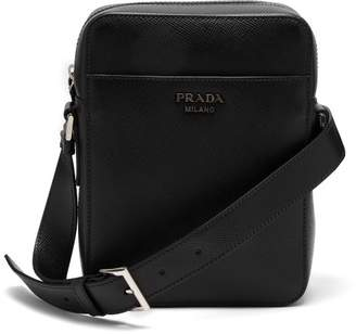 Prada Logo Embellished Saffiano Leather Camera Bag - Mens - Black