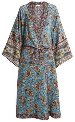 Anjuna - Kandela Paisley Print Silk Robe - Womens - Blue Multi