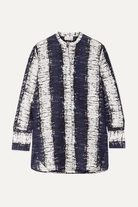By Malene Birger Sabara Printed Cotton And Silk-blend Shirt - Navy