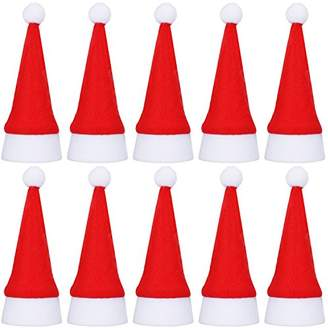 Shappy 20 Pack Mini Santa Christmas Hats for Dinner Table Cutlery Holders