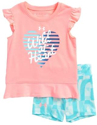 Under Armour Wild at Heart Flutter Sleeve Tee & Shorts Set