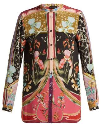 Etro Elsa Floral Print Silk Blouse - Womens - Black Print