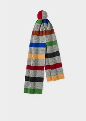 Paul Smith Men's Grey Donegal Stripe Wool Scarf