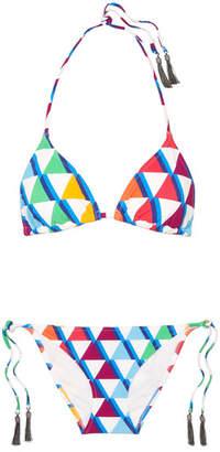 Emma Pake - Esta Lia Printed Triangle Bikini - Blue