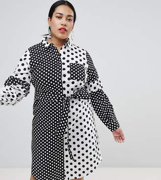 N. Lost Ink Plus Shirt Dress With Tie Waist In Mix Match Spot