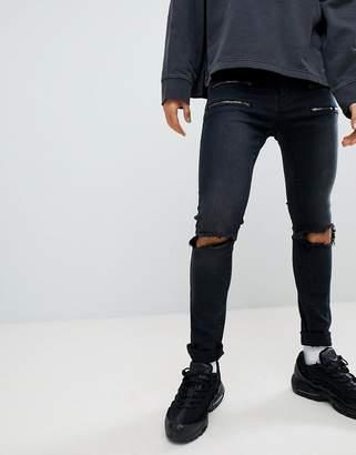 N. Liquor Poker Black Skinny Jeans With Double Zips
