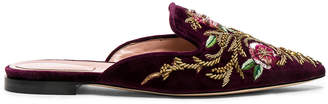 Alberta Ferretti Velvet Embroidered Mules in Burgundy | FWRD