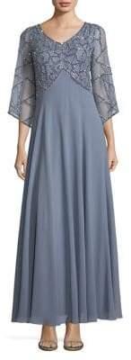 J Kara Petite Embellished Bell-Sleeve Dress