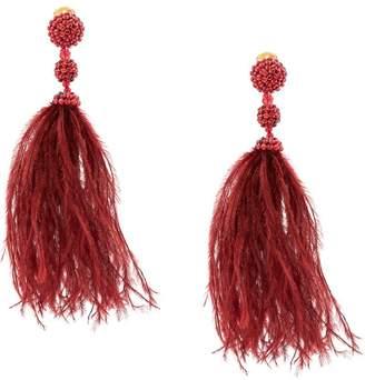 Oscar de la Renta beaded feather duster earrings