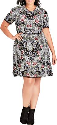 City Chic Nashville Print Dress
