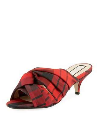 No.21 No. 21 Knotted Printed Tartan Plaid Fabric Slide Sandals
