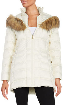 Betsey Johnson Faux Fur-Trimmed Hooded Mid Length Puffer Coat $200 thestylecure.com