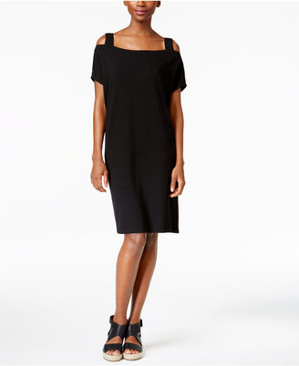 Eileen Fisher Jersey Cold-Shoulder Shift Dress $198 thestylecure.com