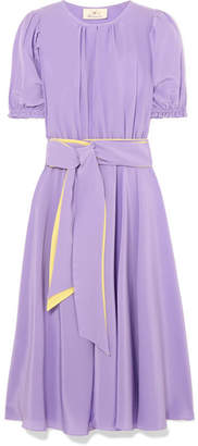 DAY Birger et Mikkelsen ARoss Girl x Soler - Brooke Belted Silk Crepe De Chine Midi Dress - Lilac