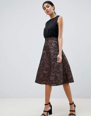 AX Paris Skater Midi Dress With Lace Skirt