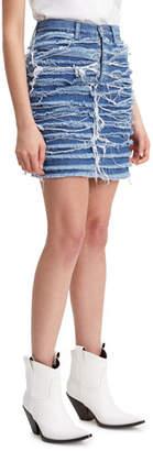 Levi's High-Rise Fringe Denim Skirt