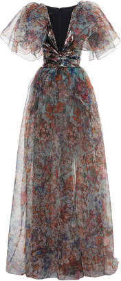 Elie Saab Puffy Sleeve Printed Organza Gown
