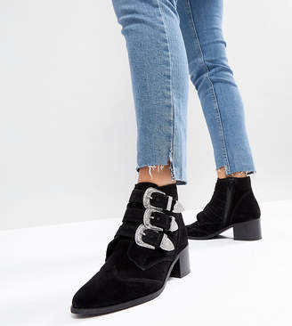Asos DESIGN RELIEVE Suede Buckle Ankle Boots